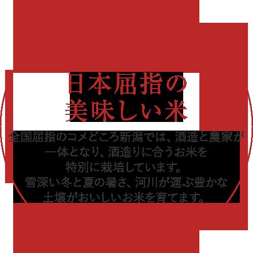 日本屈指の美味しい米/全国屈指のコメどころ新潟では、酒造と農家が一体となり、酒造りに合うお米を特別に栽培しています。雪深い冬と夏の暑さ、河川が運ぶ豊かな土壌がおいしいお米を育てます。